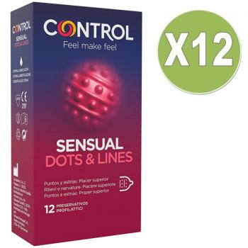 CONTROL PACK 12 UDS SENSUAL DOTS LINES PUNTOS Y ESTRIAS 12 PRESERVATIVOS