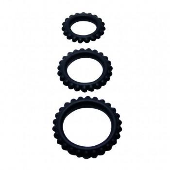 BAILE TITAN SET 3PCS COCK RING BLACK 28 24 19 CM