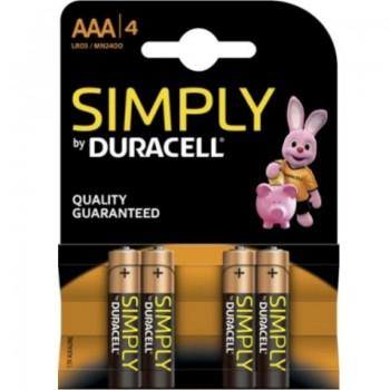 DURACELL SIMPLY PILA ALCALINA AAA LR03 MN2400 4UD